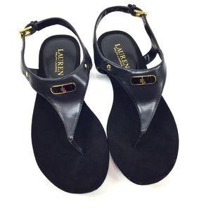 Ralph Lauren Women's Thong Sandals Black Sz 7.5B